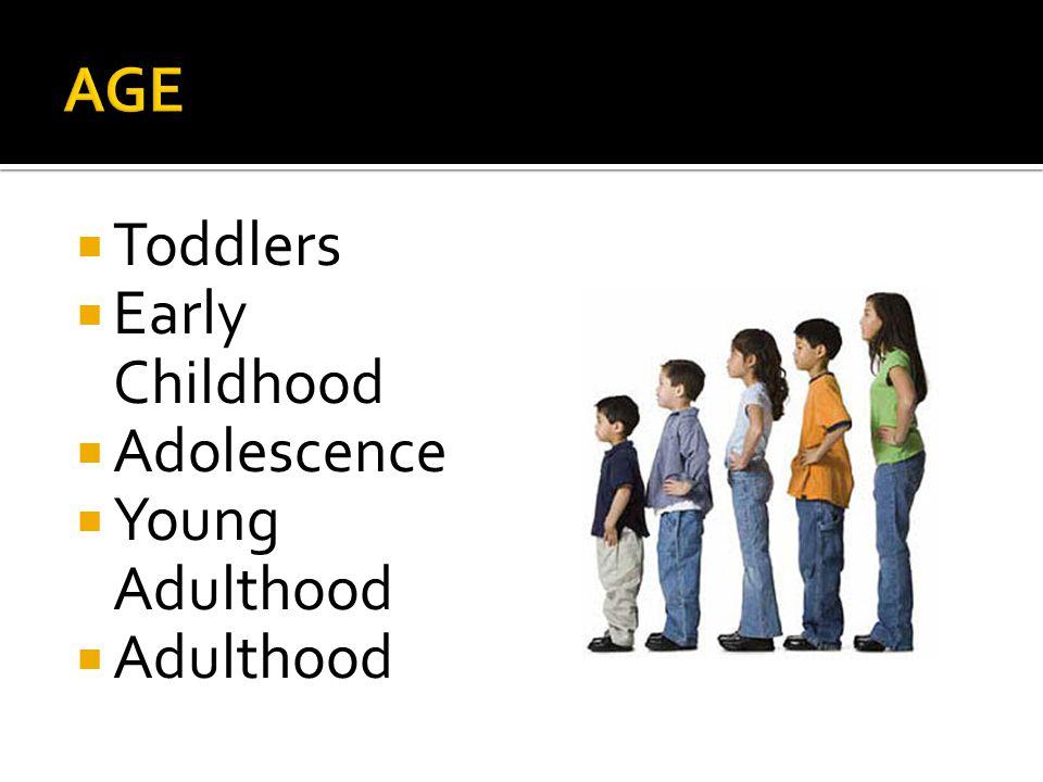  Toddlers  Early Childhood  Adolescence  Young Adulthood  Adulthood