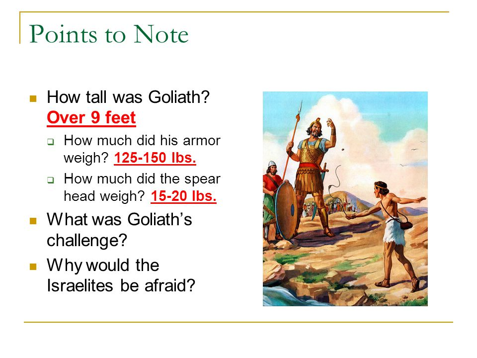 Points to Note How tall was Goliath. Over 9 feet  How much did his armor weigh.