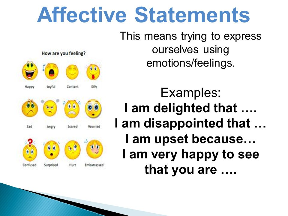 This means trying to express ourselves using emotions/feelings.