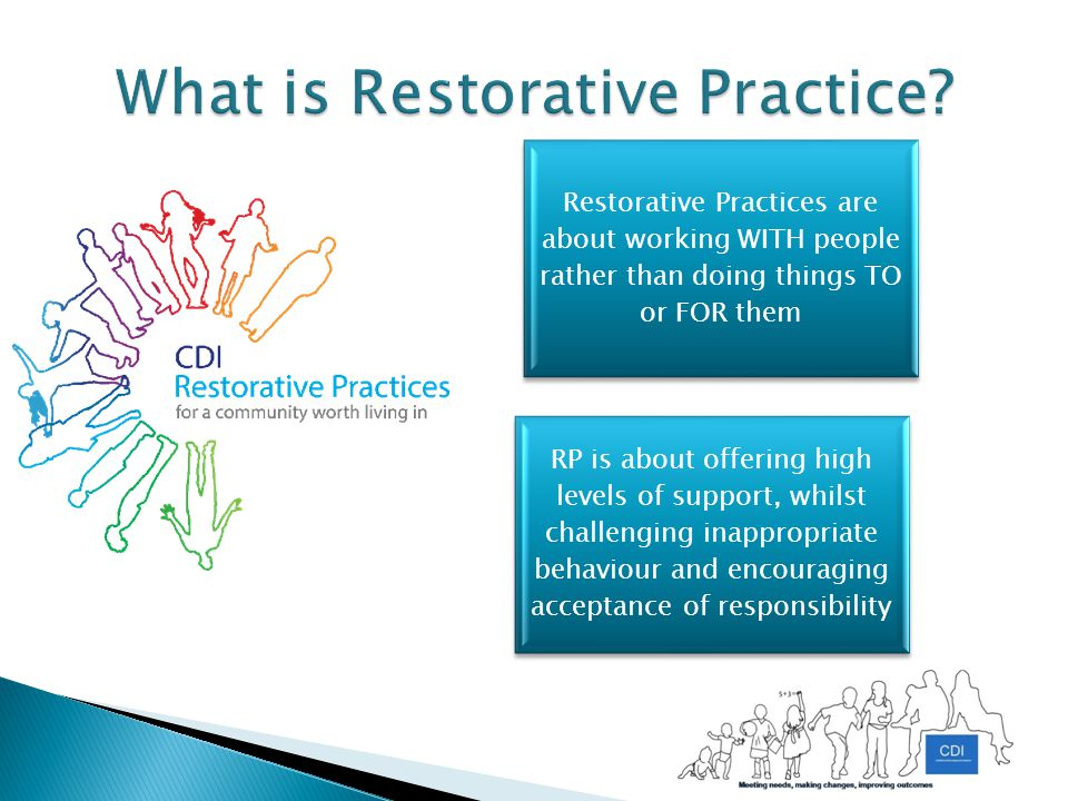 Restorative Practices are about working WITH people rather than doing things TO or FOR them RP is about offering high levels of support, whilst challenging inappropriate behaviour and encouraging acceptance of responsibility