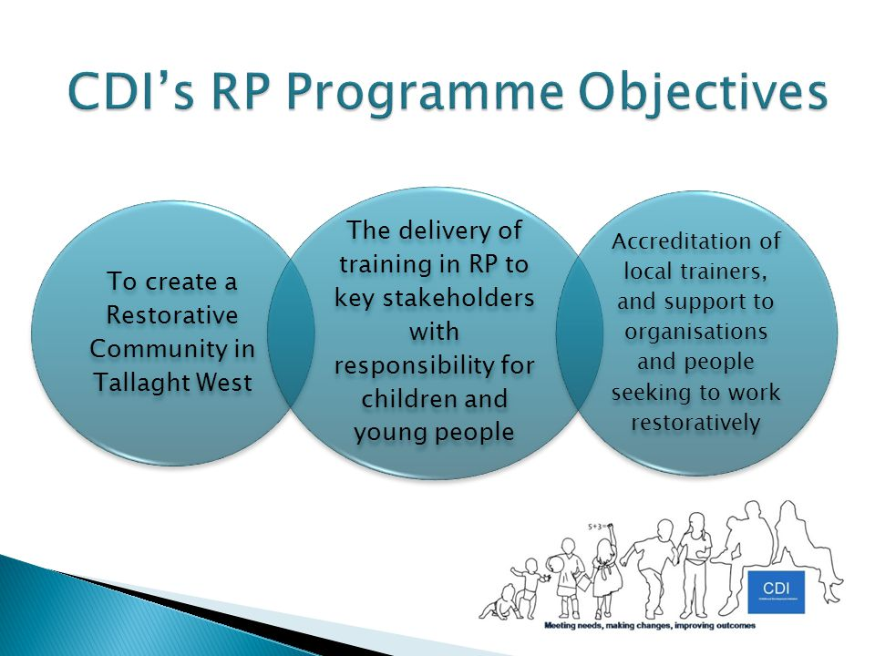 To create a Restorative Community in Tallaght West The delivery of training in RP to key stakeholders with responsibility for children and young people Accreditation of local trainers, and support to organisations and people seeking to work restoratively