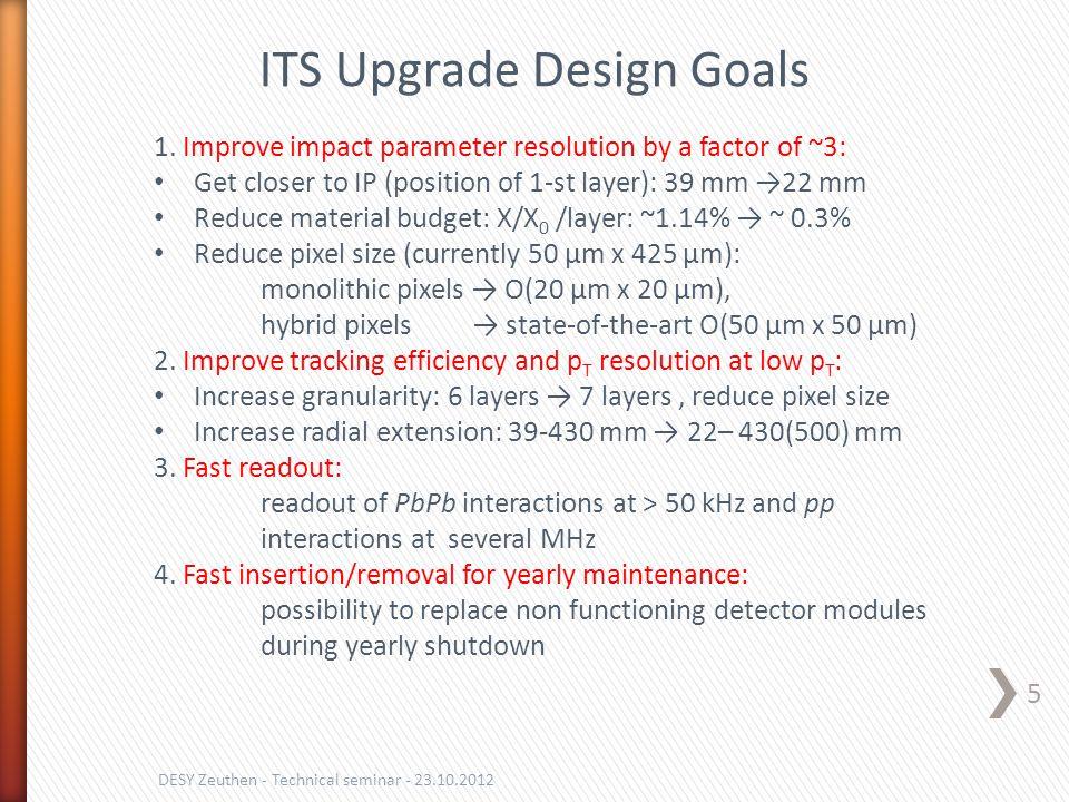 5 DESY Zeuthen - Technical seminar - 23.10.2012 ITS Upgrade Design Goals 1. Improve impact parameter resolution by a factor of ~3: Get closer to IP (p