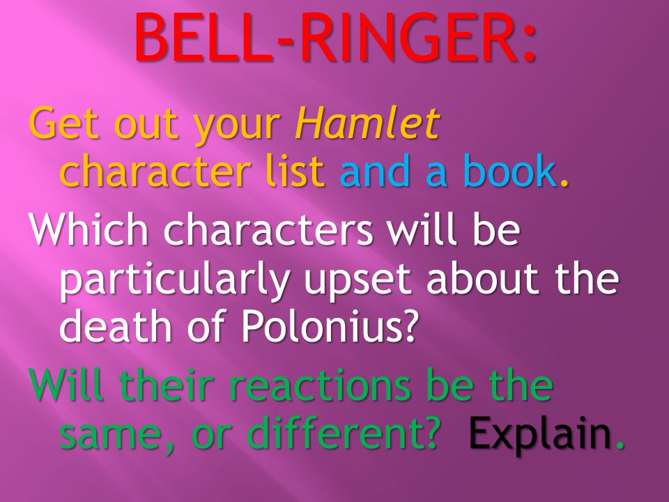 BELL-RINGER: Get out your Hamlet character list and a book.
