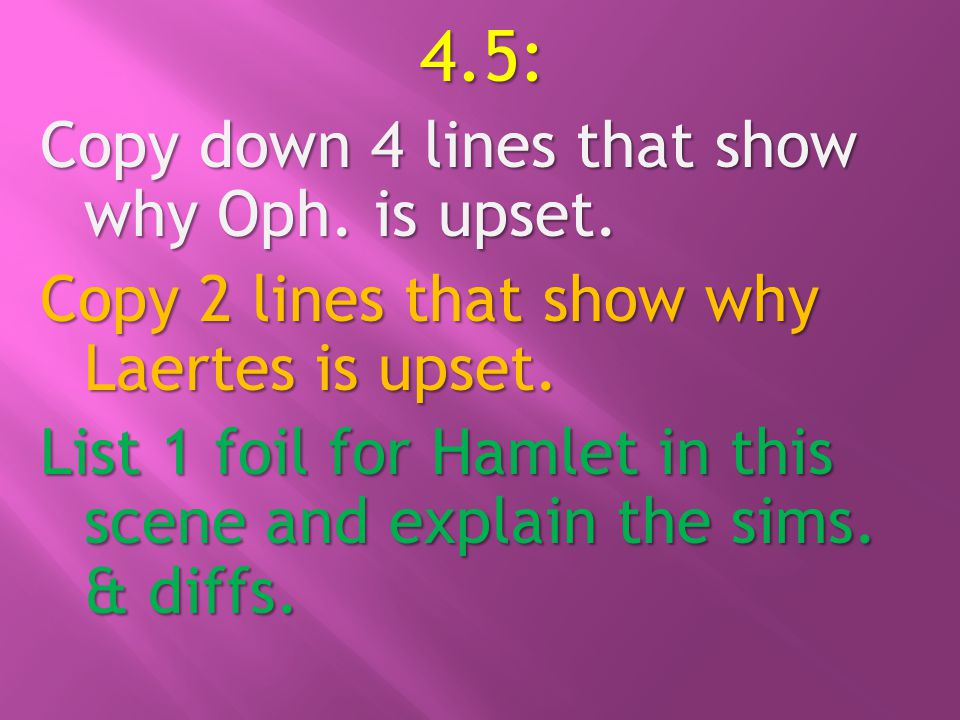 4.5: Copy down 4 lines that show why Oph. is upset.