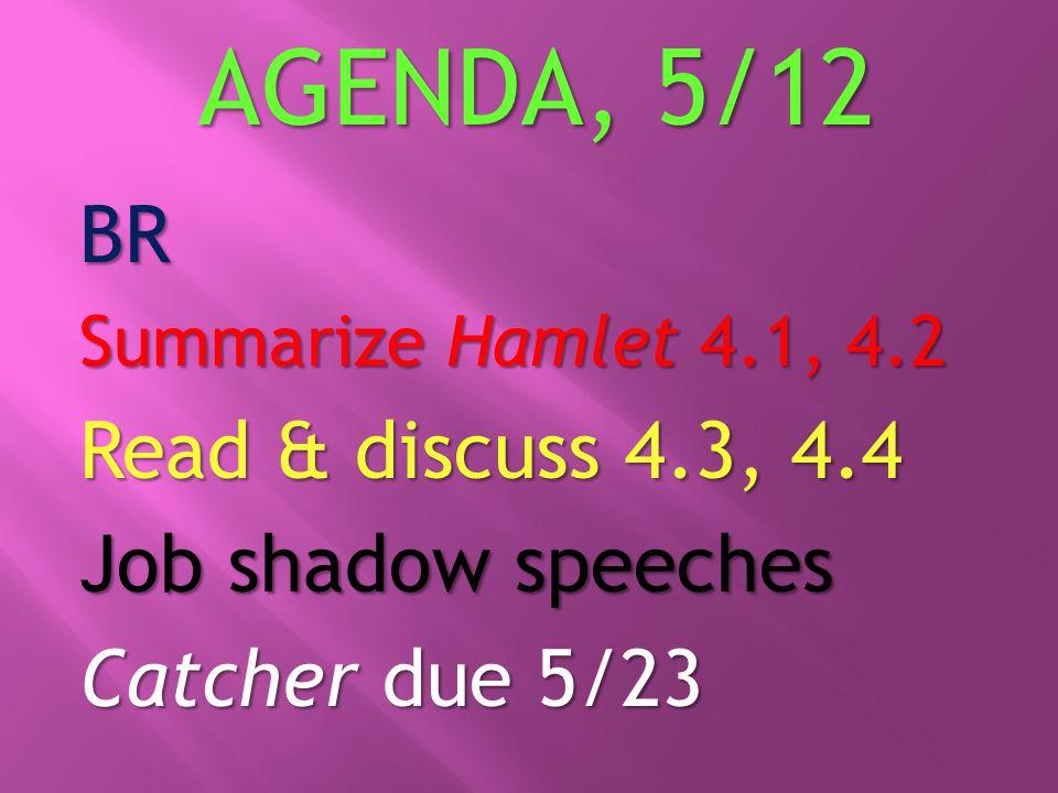 AGENDA, 5/12 BR Summarize Hamlet 4.1, 4.2 Read & discuss 4.3, 4.4 Job shadow speeches Catcher due 5/23