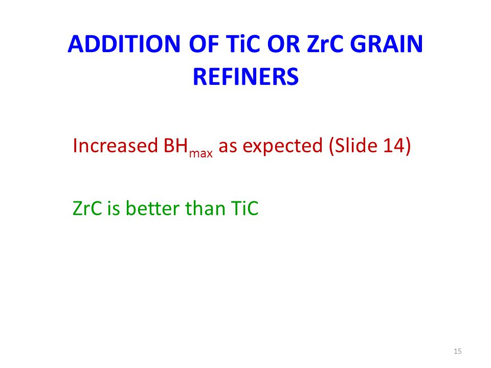 ADDITION OF TiC OR ZrC GRAIN REFINERS Increased BH max as expected (Slide 14) ZrC is better than TiC 15