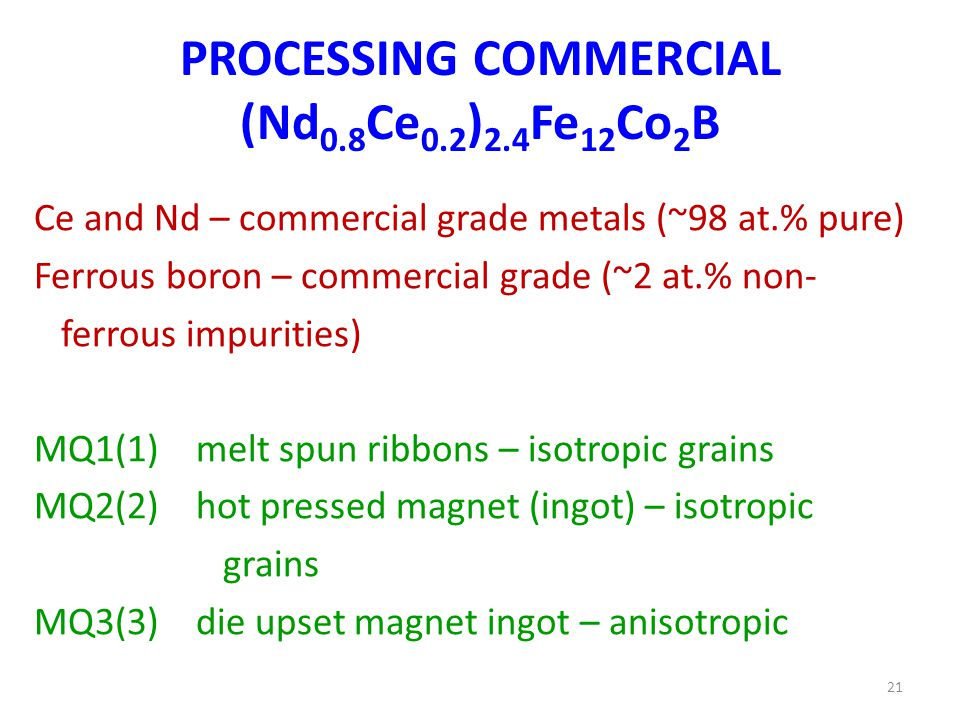 PROCESSING COMMERCIAL (Nd 0.8 Ce 0.2 ) 2.4 Fe 12 Co 2 B Ce and Nd – commercial grade metals (~98 at.% pure) Ferrous boron – commercial grade (~2 at.% non- ferrous impurities) MQ1(1) melt spun ribbons – isotropic grains MQ2(2) hot pressed magnet (ingot) – isotropic grains MQ3(3) die upset magnet ingot – anisotropic 21