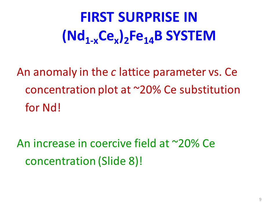FIRST SURPRISE IN (Nd 1-x Ce x ) 2 Fe 14 B SYSTEM An anomaly in the c lattice parameter vs.