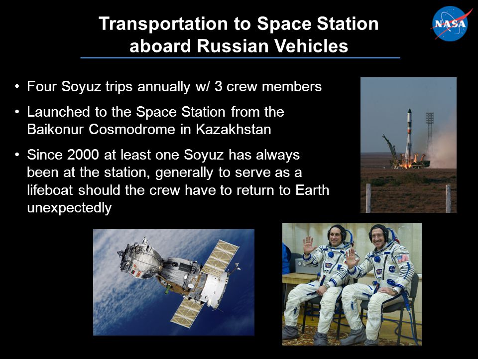 7 Transportation to Space Station aboard Russian Vehicles Four Soyuz trips annually w/ 3 crew membersFour Soyuz trips annually w/ 3 crew members Launched to the Space Station from the Baikonur Cosmodrome in KazakhstanLaunched to the Space Station from the Baikonur Cosmodrome in Kazakhstan Since 2000 at least one Soyuz has always been at the station, generally to serve as a lifeboat should the crew have to return to Earth unexpectedlySince 2000 at least one Soyuz has always been at the station, generally to serve as a lifeboat should the crew have to return to Earth unexpectedly