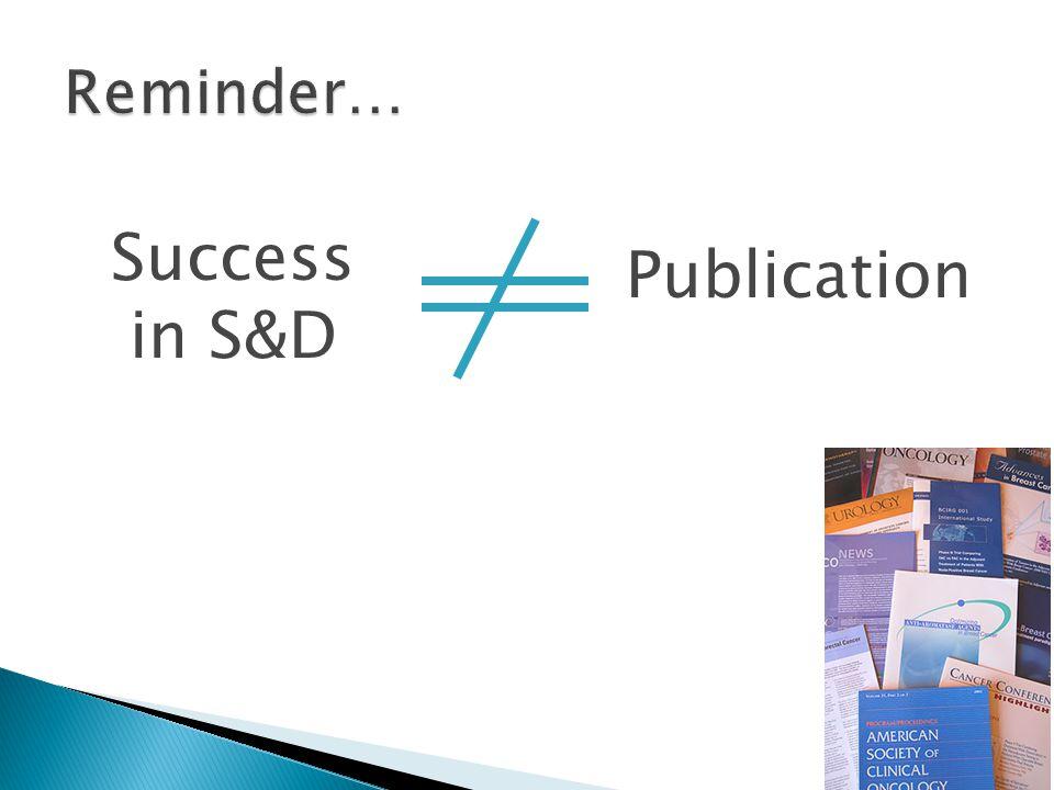 Success in S&D Publication