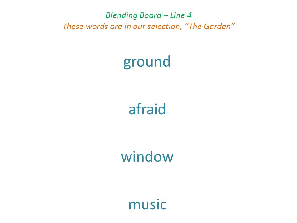 Blending Board – Line 4 These words are in our selection, The Garden ground afraid window music