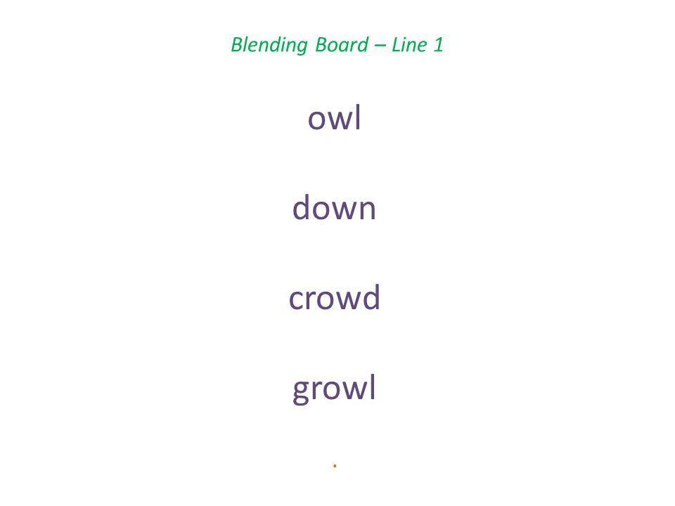 Blending Board – Line 1 owl down crowd growl.