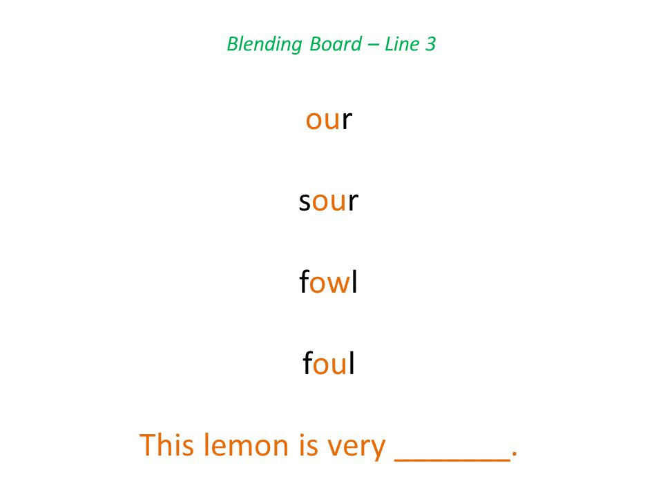 Blending Board – Line 3 our sour fowl foul This lemon is very _______.