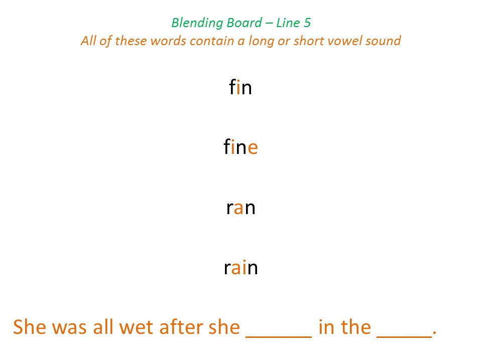 Blending Board – Line 5 All of these words contain a long or short vowel sound fin fine ran rain She was all wet after she ______ in the _____.