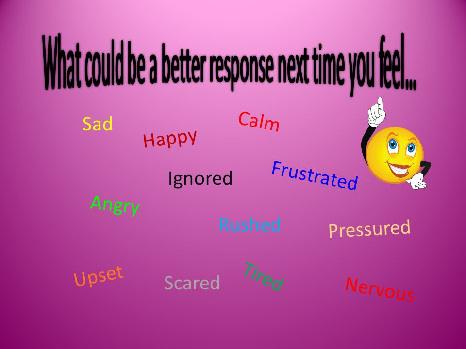 Sad Happy Angry Frustrated Ignored Upset Pressured Rushed NervousScared Calm Tired