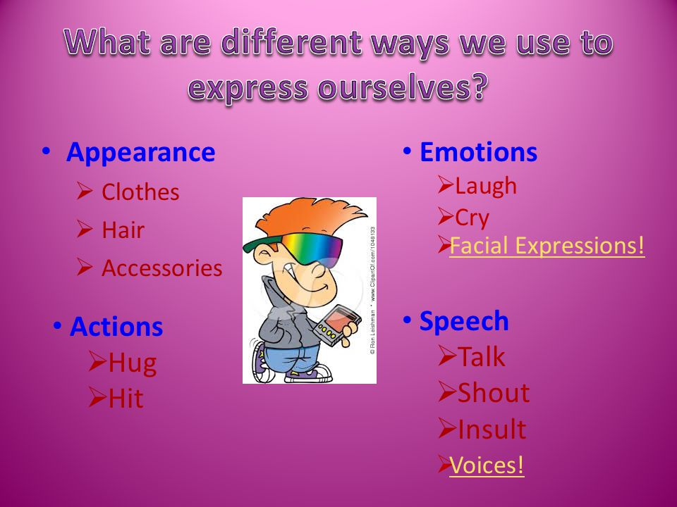 Appearance  Clothes  Hair  Accessories Emotions  Laugh  Cry Actions  Hug  Hit Speech  Talk  Shout  Insult  Voices.