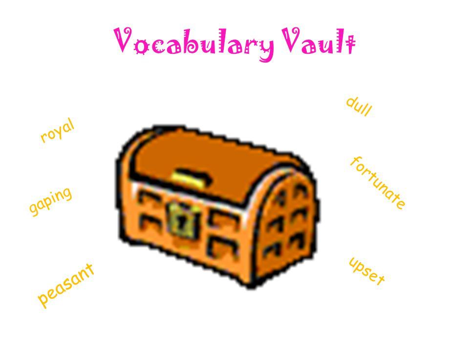 Vocabulary Vault fortunate peasant royal gaping upset dull