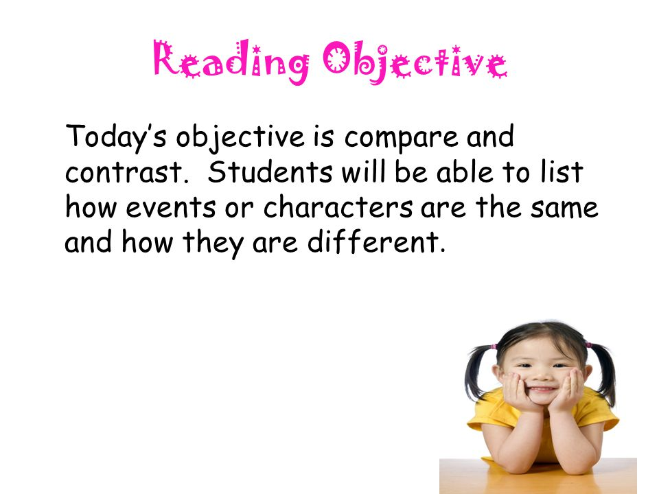 Reading Objective Today's objective is compare and contrast. Students will be able to list how events or characters are the same and how they are diff