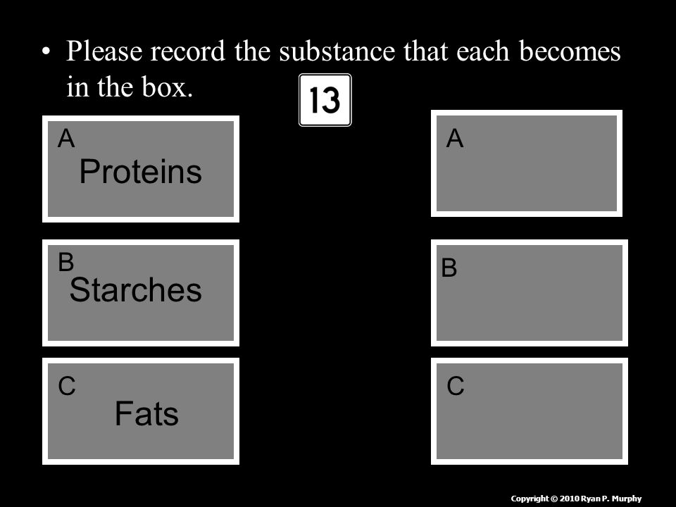 Please record the substance that each becomes in the box.