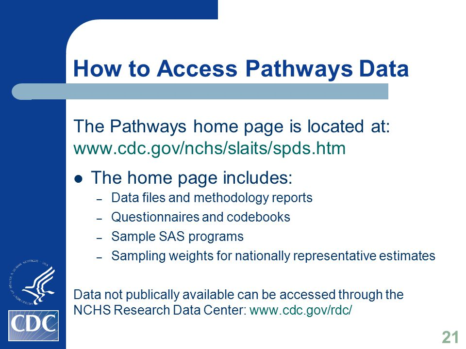 How to Access Pathways Data The Pathways home page is located at: www.cdc.gov/nchs/slaits/spds.htm The home page includes: – Data files and methodolog