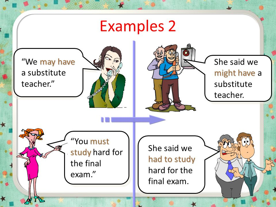 "Examples 1 will be ""The test will be difficult."" would be He said the test would be difficult. could use She said we could use our notes on the test."