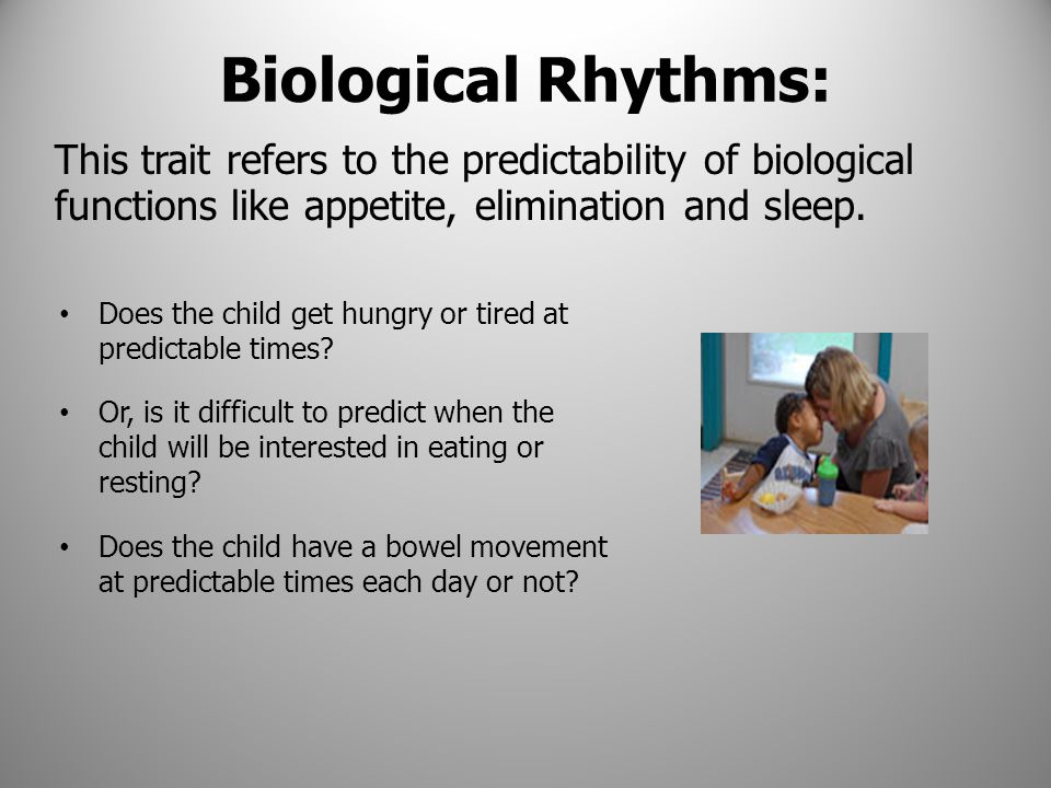 Biological Rhythms: Does the child get hungry or tired at predictable times? Or, is it difficult to predict when the child will be interested in eatin