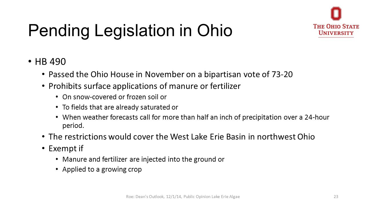 Pending Legislation in Ohio HB 490 Passed the Ohio House in November on a bipartisan vote of 73-20 Prohibits surface applications of manure or fertilizer On snow-covered or frozen soil or To fields that are already saturated or When weather forecasts call for more than half an inch of precipitation over a 24-hour period.