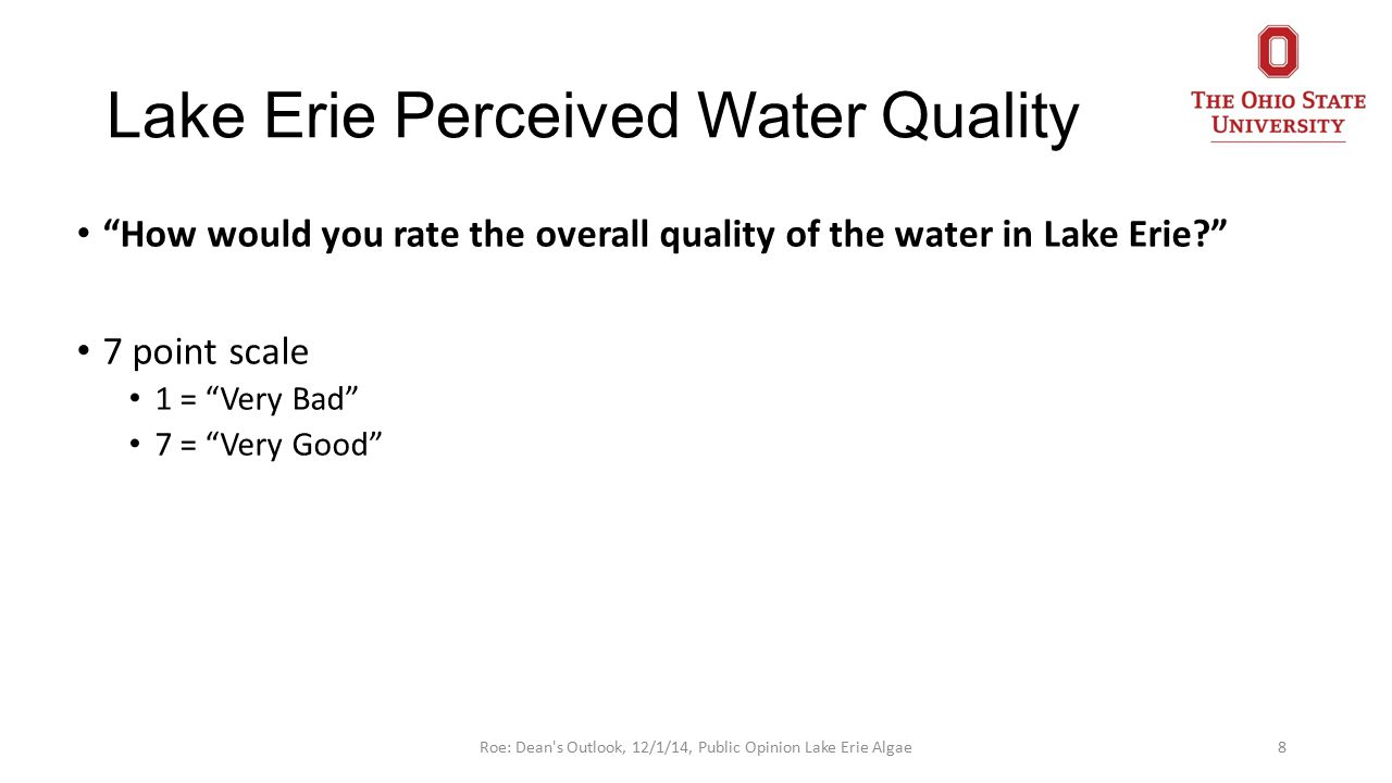 Lake Erie Perceived Water Quality How would you rate the overall quality of the water in Lake Erie? 7 point scale 1 = Very Bad 7 = Very Good 8Roe: Dean s Outlook, 12/1/14, Public Opinion Lake Erie Algae