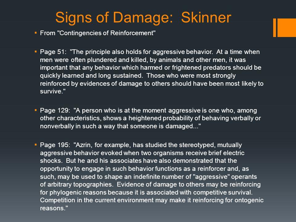 Signs of Damage: Stimuli  What stimuli are involved.