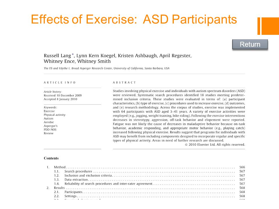 Effects of Exercise: ASD Participants Return