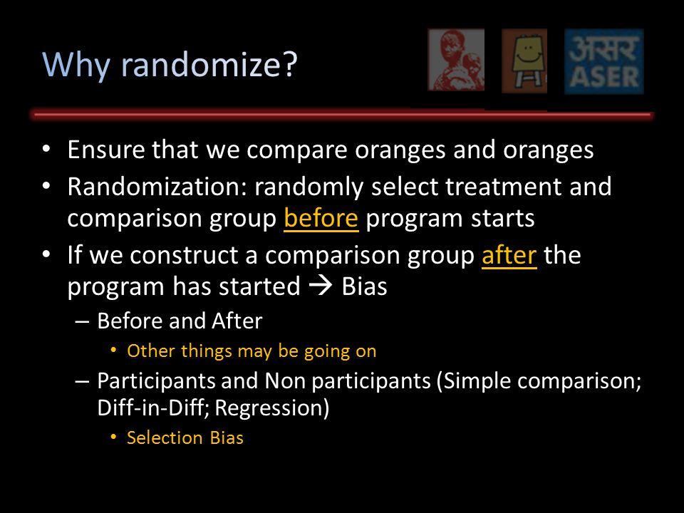 Quick Review: Why Randomize Choosing the Sample Frame Choosing the Unit of Randomization Options How to Choose Randomization Methods Mechanics of randomization Stratification Variations on Simple Treatment-Control