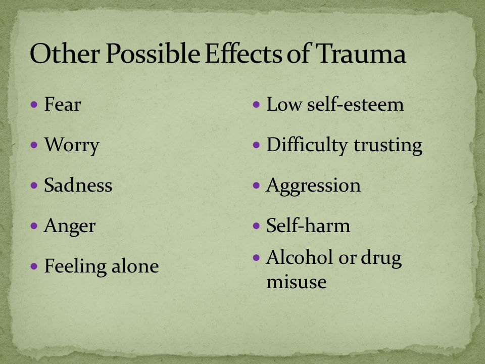 Allow to stand in back of class for brief periods When possible, use of break out groups Tutoring Excused absence procedures for medical and/or mental health appointments Communicate directly to educators about student being a trauma-survivor (if known) and suggestions for accommodations to help the student succeed