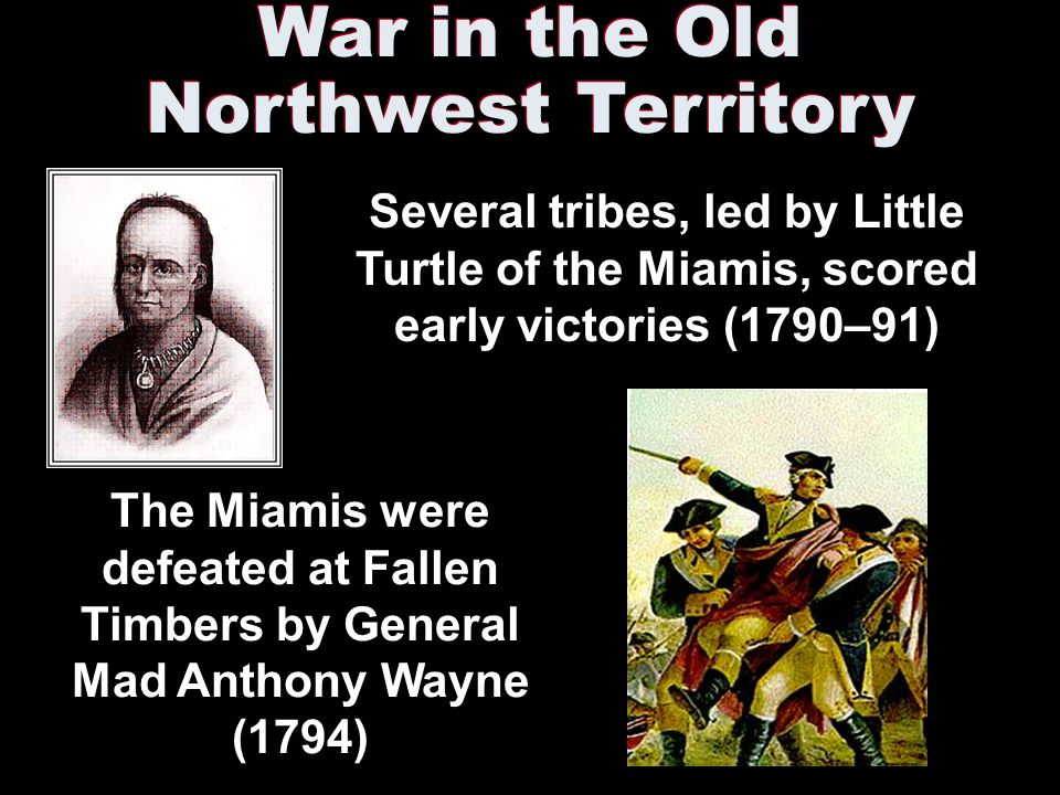 War in the Old Northwest Territory Several tribes, led by Little Turtle of the Miamis, scored early victories (1790–91) The Miamis were defeated at Fallen Timbers by General Mad Anthony Wayne (1794)