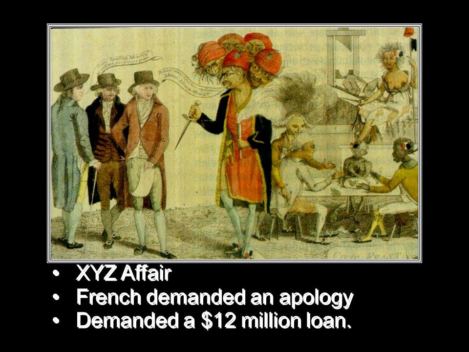 XYZ Affair French demanded an apology Demanded a $12 million loan.