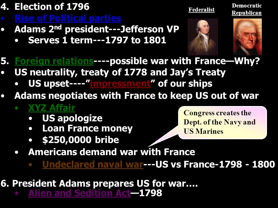 4.Election of 1796 Rise of Political parties Adams 2 nd president---Jefferson VP Serves 1 term---1797 to 1801 5.
