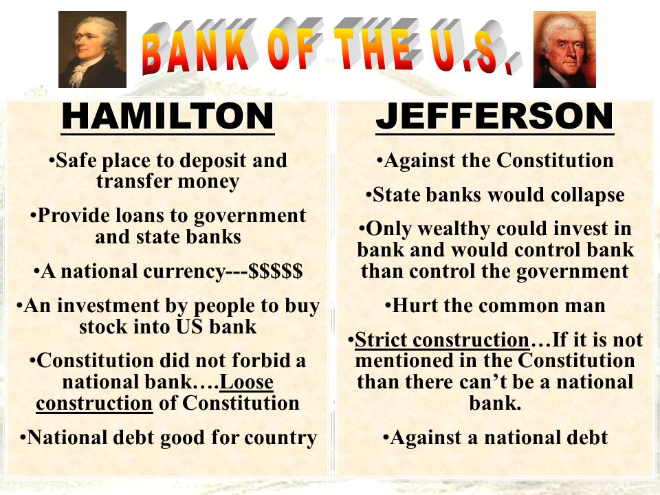 HAMILTON Safe place to deposit and transfer money Provide loans to government and state banks A national currency---$$$$$ An investment by people to buy stock into US bank Constitution did not forbid a national bank….Loose construction of Constitution National debt good for countryJEFFERSON Against the Constitution State banks would collapse Only wealthy could invest in bank and would control bank than control the government Hurt the common man Strict construction…If it is not mentioned in the Constitution than there can't be a national bank.