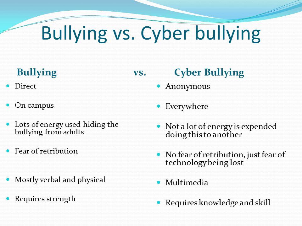 Bullying vs. Cyber bullying Bullying vs.