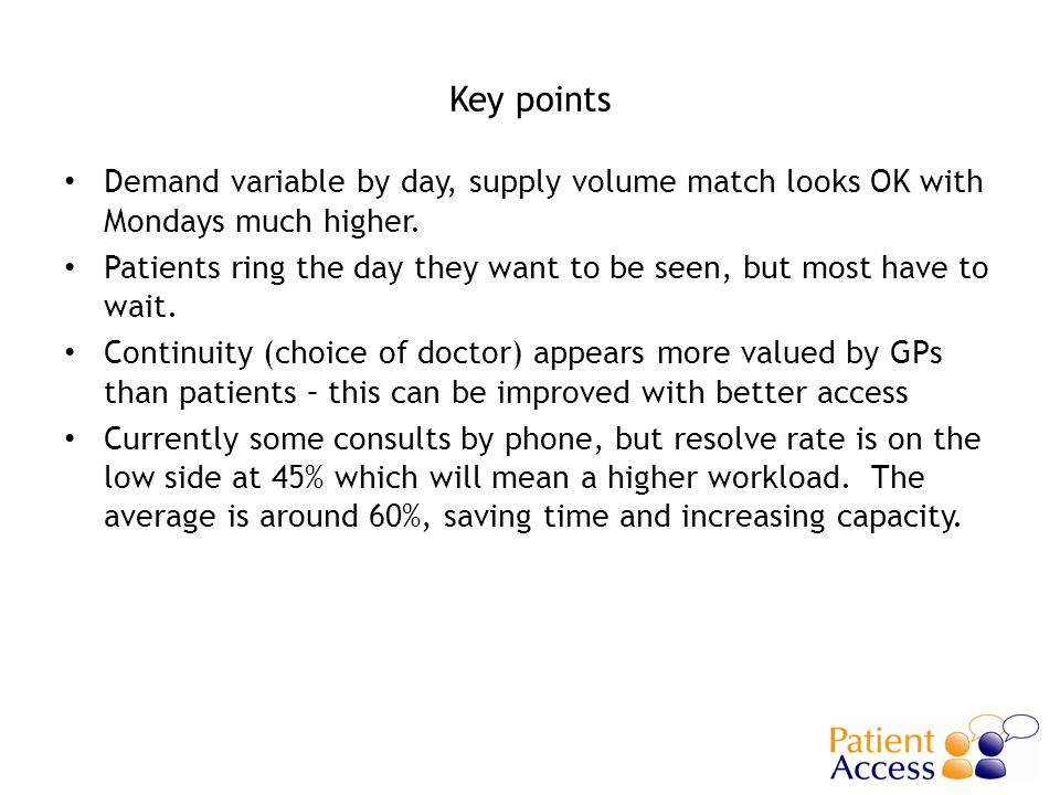 Key points Demand variable by day, supply volume match looks OK with Mondays much higher.