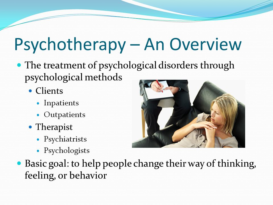 Psychoanalytic Psychotherapy Personality and behavior reflect the ego's efforts to referee unconscious conflicts Psychoanalysis – understanding unconscious conflicts Freud's one-on-one methods – free association, dream analysis, hypnosis Aims to help clients gain insight into and work through problems Manifest content Latent content Freudian slip Transference Resistance – when a person disagrees with the therapist's interpretations – people try to protect themselves through resisting the truth –unconsciously blocks the process of revealing unconscious conflicts