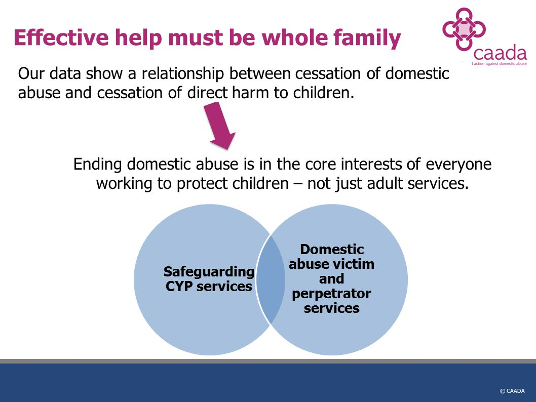 © CAADA Effective help must be whole family Safeguarding CYP services Domestic abuse victim and perpetrator services Our data show a relationship between cessation of domestic abuse and cessation of direct harm to children.