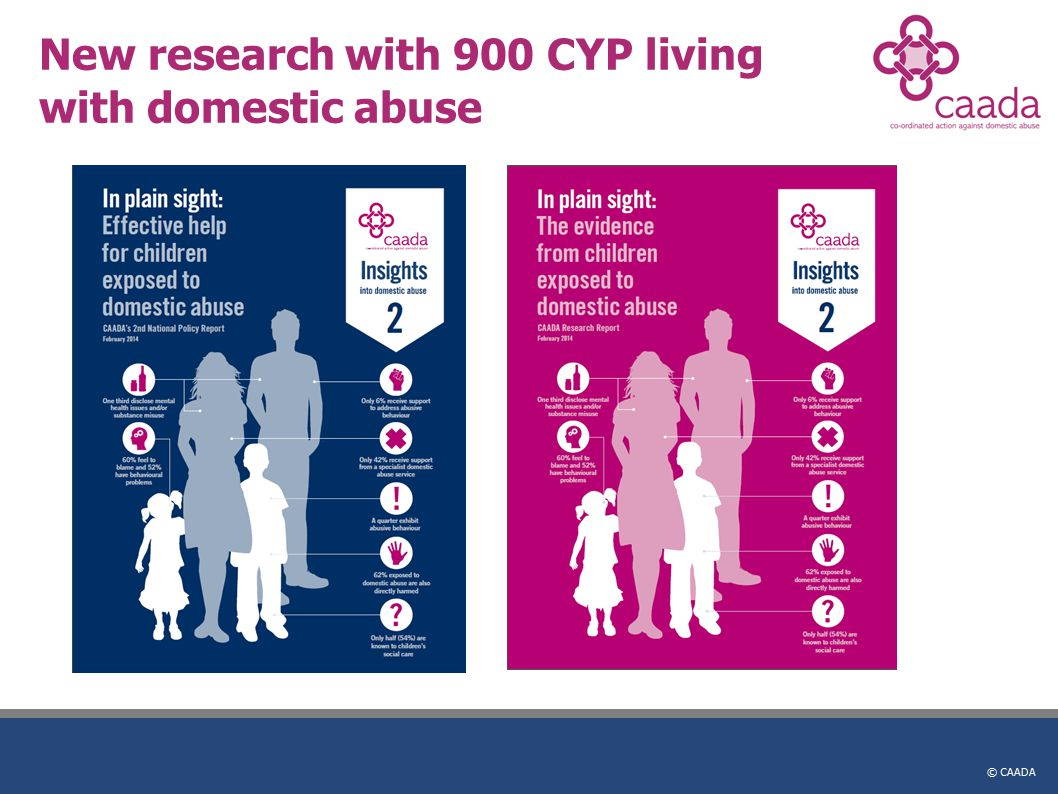 © CAADA New research with 900 CYP living with domestic abuse