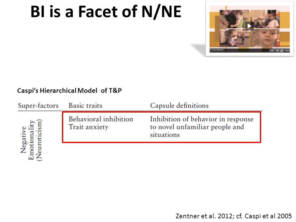 BI is a Facet of N/NE Zentner et al. 2012; cf. Caspi et al 2005 Caspi's Hierarchical Model of T&P