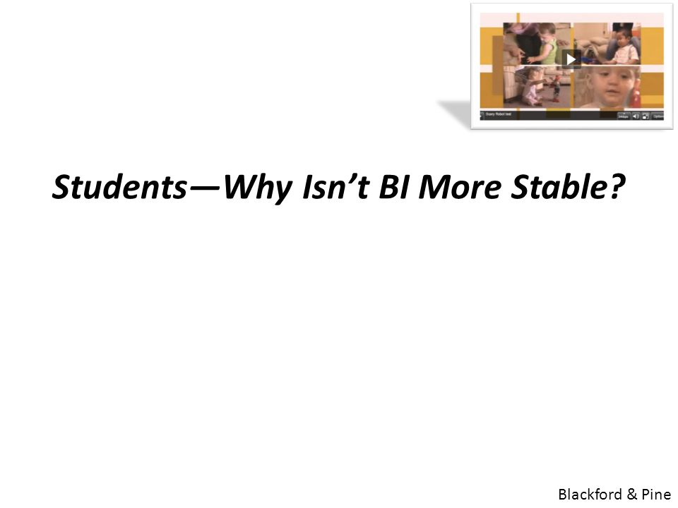 Students—Why Isn't BI More Stable. Might this reflect a mixture of Age-Appropriate Fears vs.