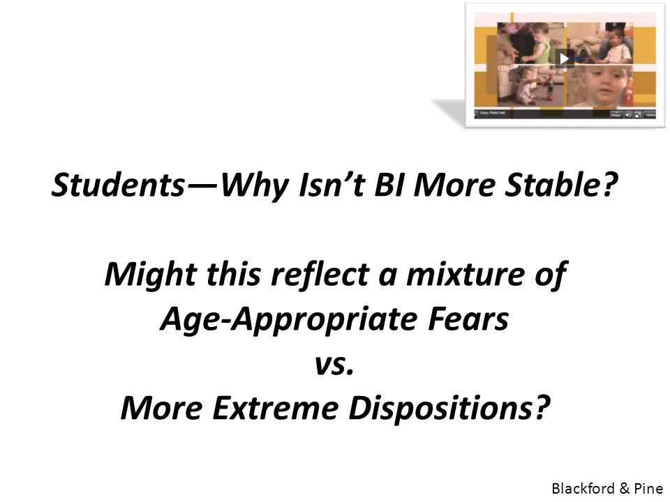 Students—Why Isn't BI More Stable? Might this reflect a mixture of Age-Appropriate Fears vs. More Extreme Dispositions? Blackford & Pine