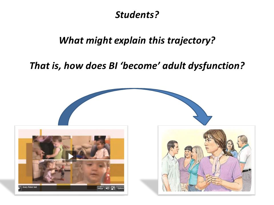 Students? What might explain this trajectory? That is, how does BI 'become' adult dysfunction?