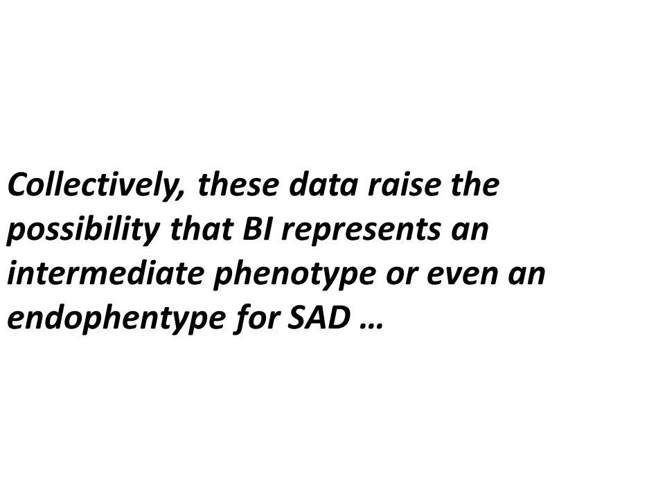 Collectively, these data raise the possibility that BI represents an intermediate phenotype or even an endophentype for SAD …