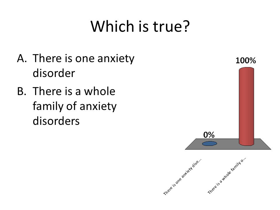 Which is true? A.There is one anxiety disorder B.There is a whole family of anxiety disorders