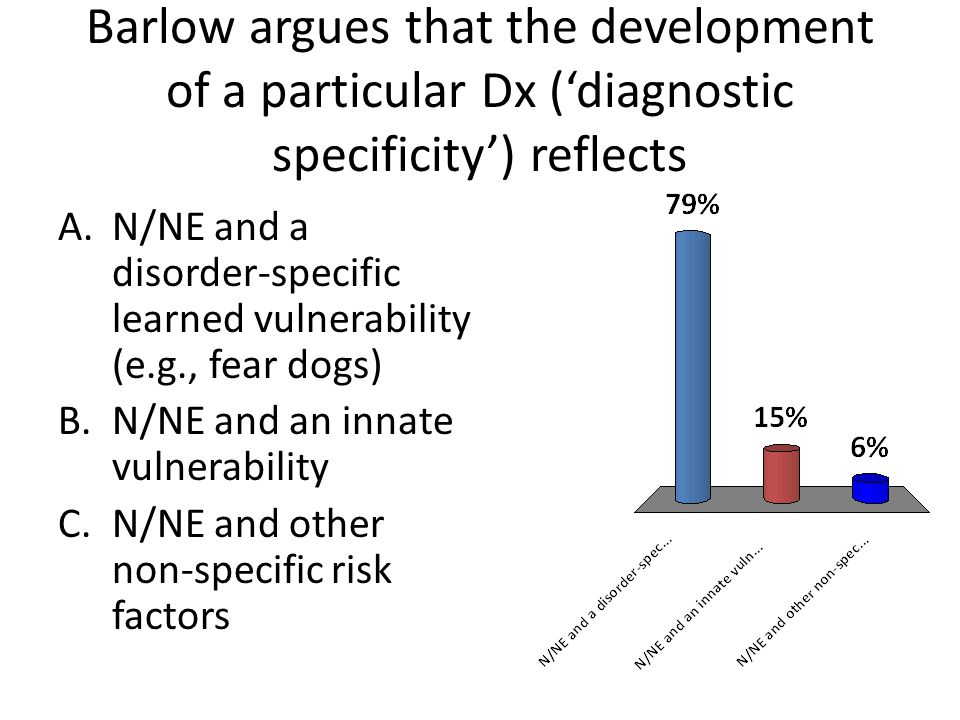 Barlow argues that the development of a particular Dx ('diagnostic specificity') reflects A.N/NE and a disorder-specific learned vulnerability (e.g.,