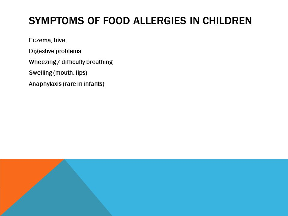 SYMPTOMS OF FOOD ALLERGIES IN CHILDREN Eczema, hive Digestive problems Wheezing / difficulty breathing Swelling (mouth, lips) Anaphylaxis (rare in infants)