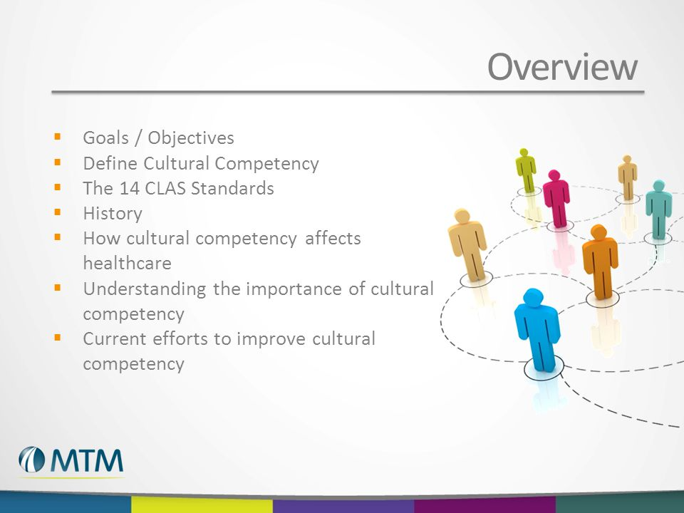 Overview  Goals / Objectives  Define Cultural Competency  The 14 CLAS Standards  History  How cultural competency affects healthcare  Understanding the importance of cultural competency  Current efforts to improve cultural competency